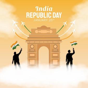 Hand gezeichnete illustration des tages der indischen republik.