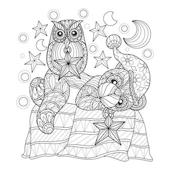 Hand gezeichnete illustration des teddybären und der eule.