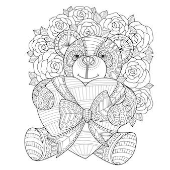 Hand gezeichnete illustration des teddybären und des herzens