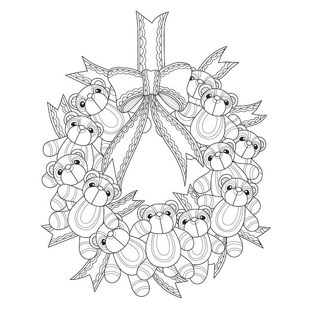 Hand gezeichnete illustration des teddybärs kranz