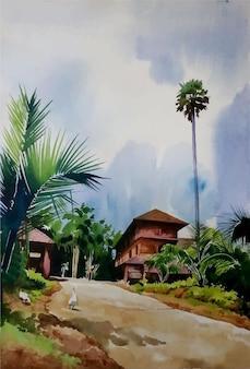 Hand gezeichnete illustration des tropischen aquarellresorts