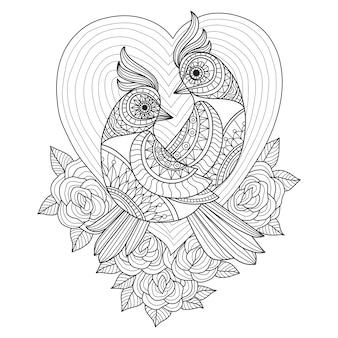 Hand gezeichnete illustration des vogelliebhabers in der zentangle art