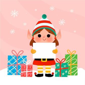Hand gezeichnete illustration des weihnachtscharakters, der leere fahne hält