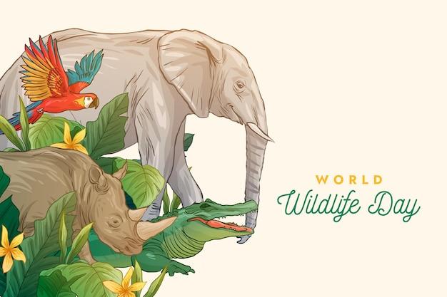 Hand gezeichnete illustration des weltwildestages mit tieren