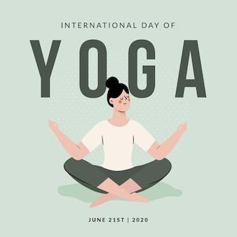 Hand gezeichnete illustration des yoga-konzepts