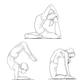 Hand gezeichnete illustration des yoga