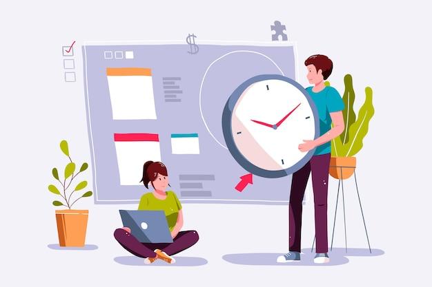 Hand gezeichnete illustration des zeitmanagementkonzepts