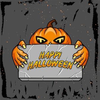 Hand gezeichnete illustration eines kürbises, der ein brett hält, das glückliches halloween sagt