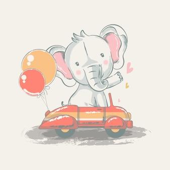 Hand gezeichnete illustration eines niedlichen babyelefanten auf einem auto