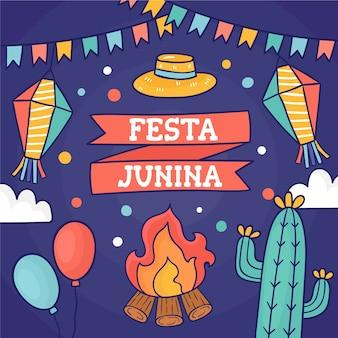 Hand gezeichnete illustration festa junina