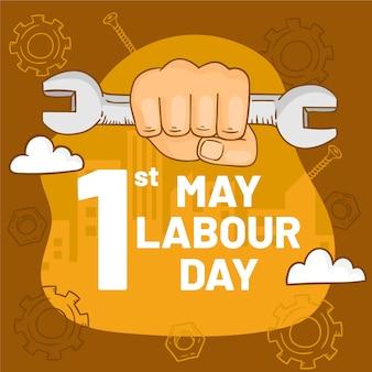Hand gezeichnete illustration für arbeitstag