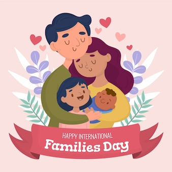 Hand gezeichnete illustration für internationalen tag der familien