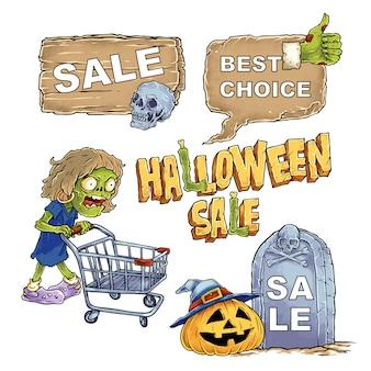 Hand gezeichnete illustration halloween mit verkaufs-fahnen-satz