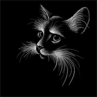 Hand gezeichnete illustration in der kreideart der katze