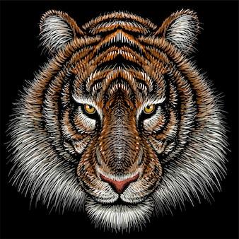 Hand gezeichnete illustration in der kreideart des tigers