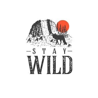 Hand gezeichnete illustration mit berglandschaft und inspirierendem schriftzug