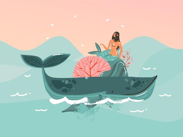 Hand gezeichnete illustration mit der jungen glücklichen schönheitsfrauen-meerjungfrau im bikini, die auf wal- und sonnenuntergang-ozeanszene auf blauem farbhintergrund schwimmt