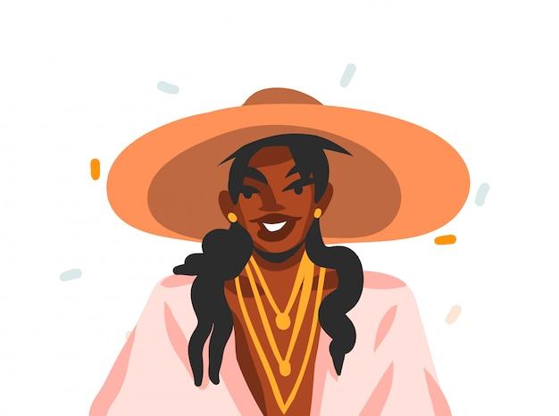 Hand gezeichnete illustration mit der jungen, glücklichen schwarzen schönheitsfrau im modesommeroutfit, das draußen auf weißem hintergrund lächelt