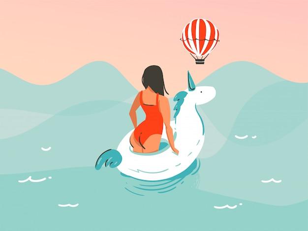 Hand gezeichnete illustration mit einem mädchen in einem badeanzug, der mit einem einhorngummiring auf ozeanwellenhintergrund schwimmt