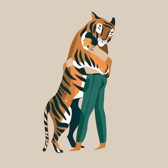 Hand gezeichnete illustration mit einem mann tiger trainer sehr zärtlich liebevolle umarmungen mit einem tiger isoliert