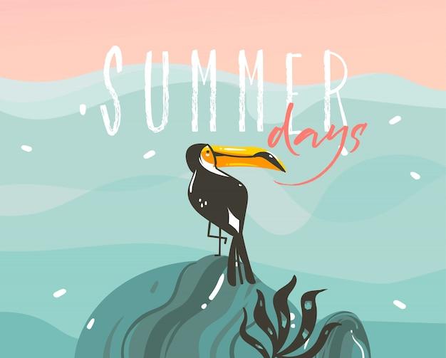 Hand gezeichnete illustration mit einem tropischen exotischen tukanvogel und typografie-sommertagetext auf ozeanwellenlandschaftshintergrund