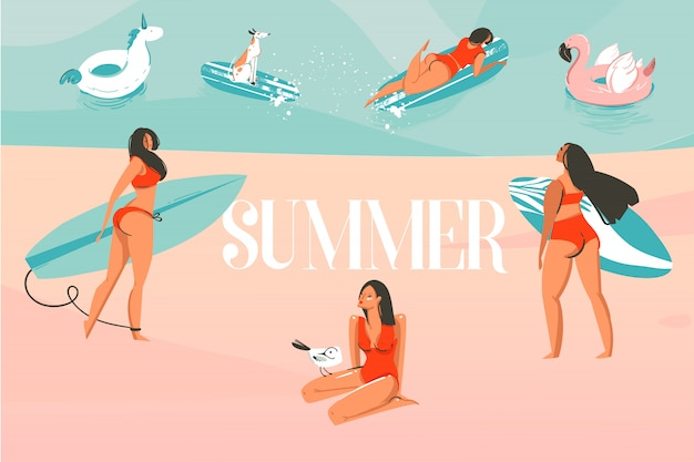 Hand gezeichnete illustration mit einer sonnenbad-personengruppe, die auf ozeanstrandlandschaft und sommertypografietext auf farbhintergrund surft