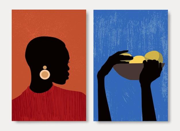 Hand gezeichnete illustration mit ethnischer böhmischer stammesschwarzer schöner sammlung afroamerikanischer frauen