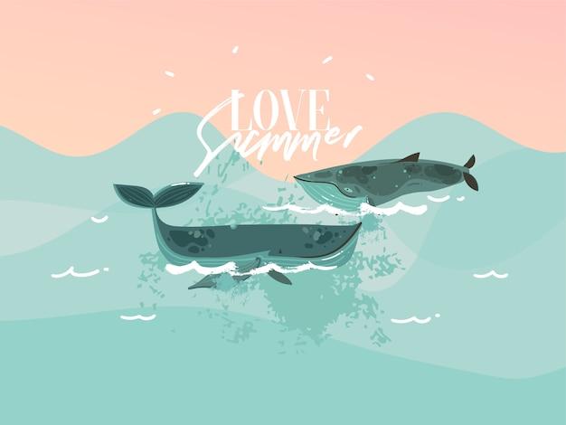 Hand gezeichnete illustration mit glücklichen schönheitsschwimmwalen und sonnenuntergangozean-szene auf blauem farbhintergrund.