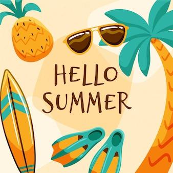 Hand gezeichnete illustration mit hallo sommerbotschaft