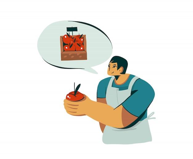 Hand gezeichnete illustration mit kerlverkäufercharakter verkauft frischen organischen hauptapfel auf weißem hintergrund