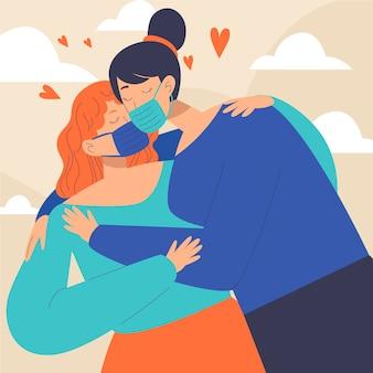 Hand gezeichnete illustration mit paaren, die mit covid maske küssen