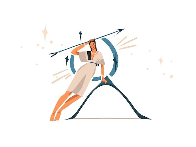 Hand gezeichnete illustration mit sternzeichen sternzeichen schütze mit schönheitsmagie weiblich
