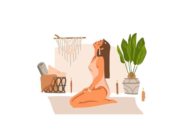 Hand gezeichnete illustration mit weiblichem charakter der jungen glücklichen schönheit, meditierend und yoga-praktiker isoliert