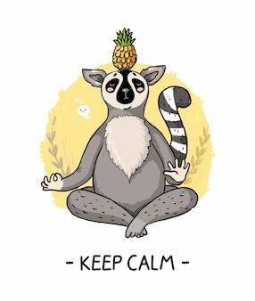 Hand gezeichnete illustration niedlichen lemur halten ruhig