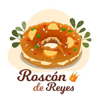 Hand gezeichnete illustration roscón de reyes