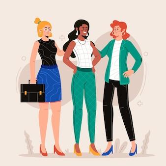 Hand gezeichnete illustration selbstbewusste unternehmerinnen