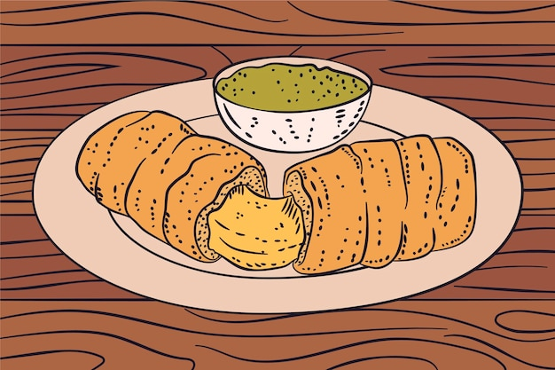 Hand gezeichnete illustration tequeños auf teller mit sauce