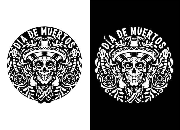 Hand gezeichnete illustration von dia de muertos, lokalisiert auf dunklem und hellem hintergrund