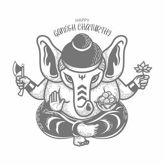Hand gezeichnete illustration von ganesh chaturthi. strichzeichnung. schwarz und weiß