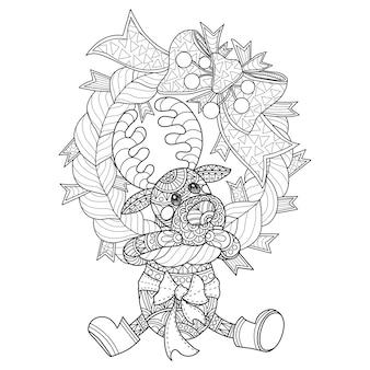 Hand gezeichnete illustration von kleinen rotwild und der weihnachtskranz