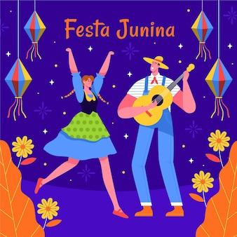 Hand gezeichnete illustration von leuten, die festa junina ereignis feiern