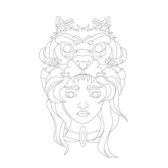 Hand gezeichnete illustration von mädchen wolf