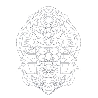 Hand gezeichnete illustration von mecha japan ronin