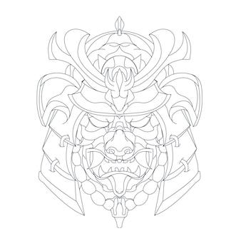 Hand gezeichnete illustration von ronin japan