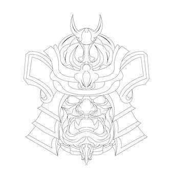 Hand gezeichnete illustration von samurai japan