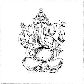 Hand gezeichnete illustration von sitzendem lord ganesha im mandala-rahmen. für tätowierung, yoga, spiritualität.