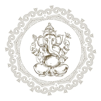 Hand gezeichnete illustration von sitzendem lord ganesha im mandala-rahmen.