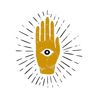 Hand gezeichnete illustration von sunburst, hand und alles sehende augensymbol. auge der vorsehung. freimaurersymbol. bild