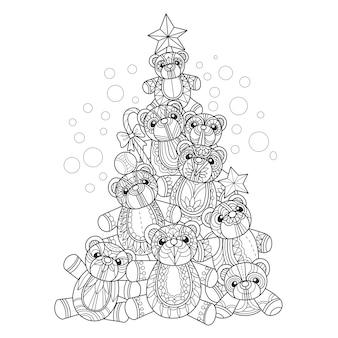 Hand gezeichnete illustration von teddybären weihnachtsbaum