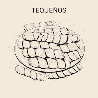 Hand gezeichnete illustration von tequeños